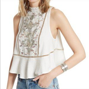 Free People Floral Peplum Embroidered Tank